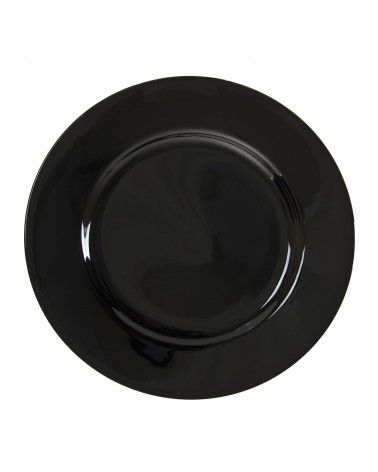 "Black Rim  9"" Luncheon Plate"