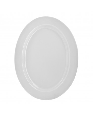 "Classic White 14"" Oval Platter"
