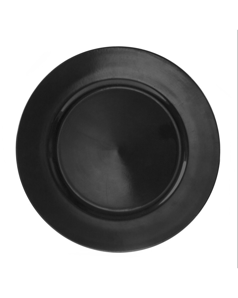 "Lacquer Round  Black 13"" Charger"