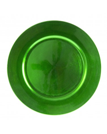 Lacquer Round Green Charger 13""