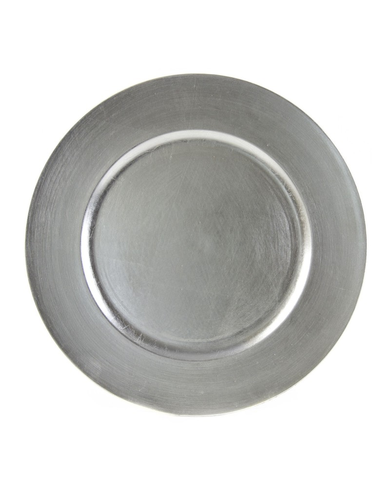 Lacquer Round Silver Charger 13""