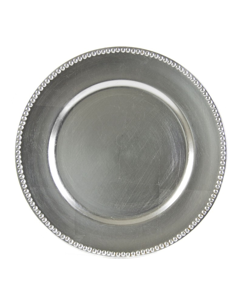 """Lacquer Round Silver Beaded  Charger 13"""""""