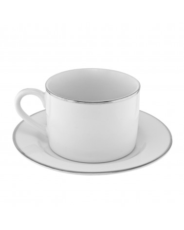 Silver Band  Can Cup Saucer (6 oz.)