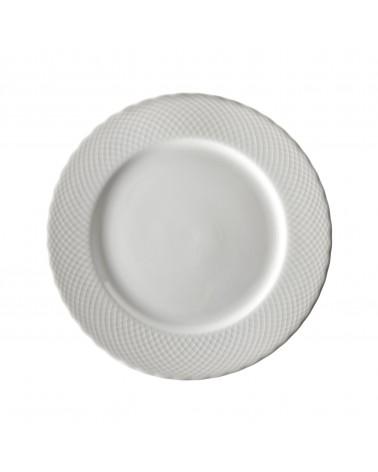 """White Wicker 10.25"""" Dinner Plate"""