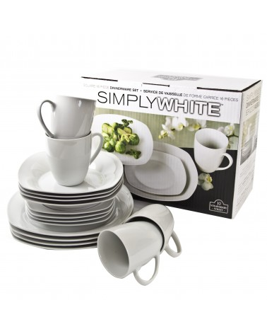 Simply White 16 Piece Square Dinnerware Set