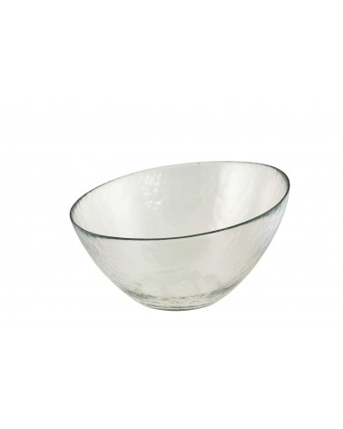"Hammered Glass Angled 10"" Bowl"