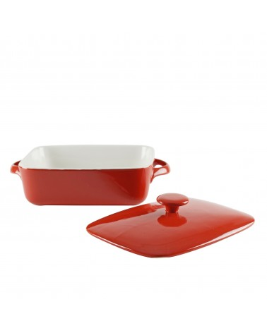 Sienna Red Rectangular Bakeware With Lid 9""