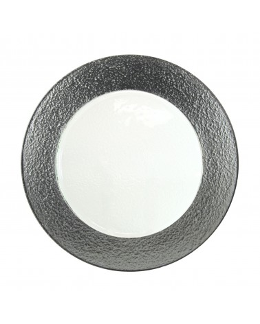 Colored Rim Silver Rim Glass Charger Plate