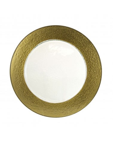 Colored Rim Gold Rim Glass Charger Plate