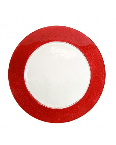 Colored Rim Red Rim Glass Charger Plate