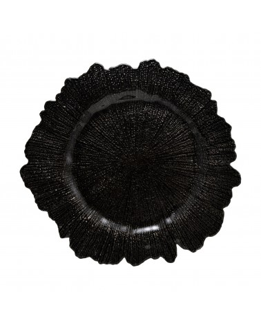 Sponge Black Glass Charger Plate