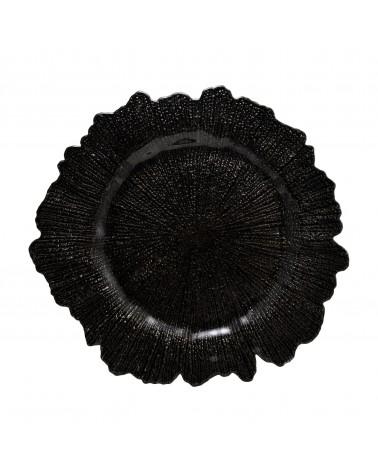 Sponge Black Glass Charger Plate