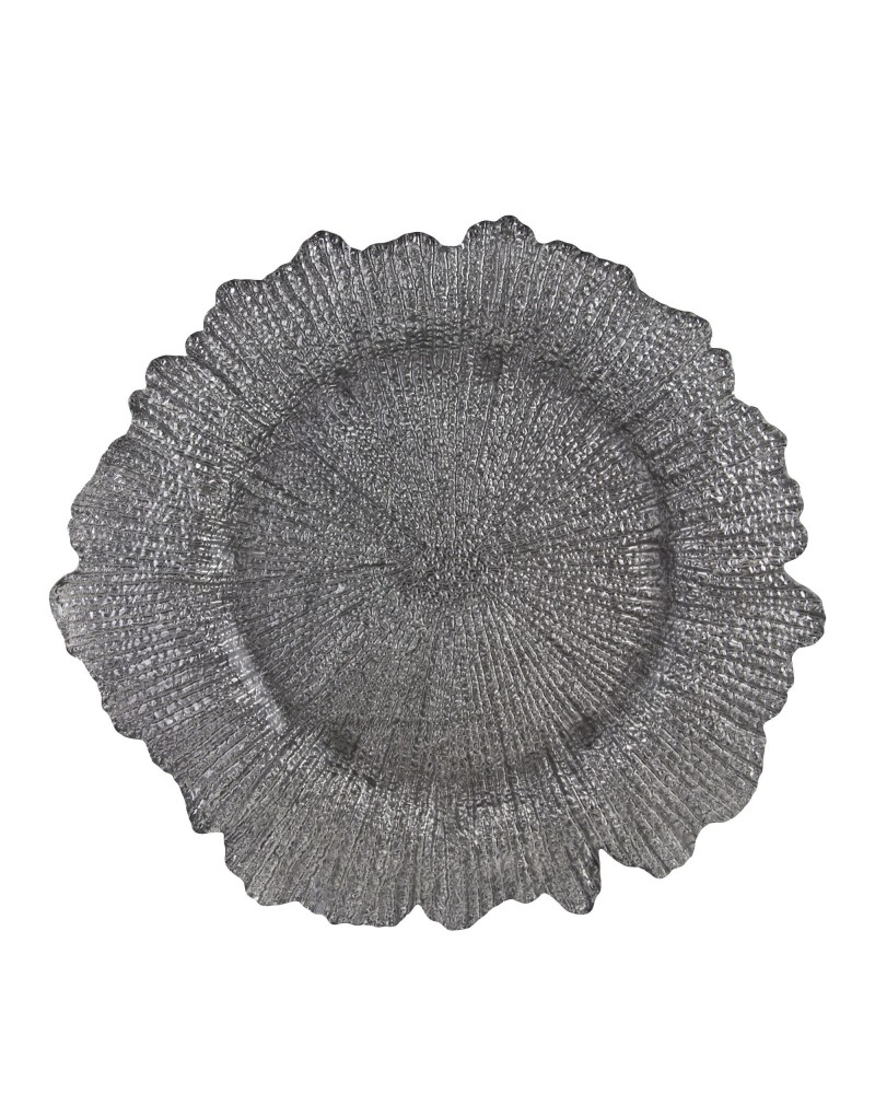 Sponge Silver Glass Charger Plate