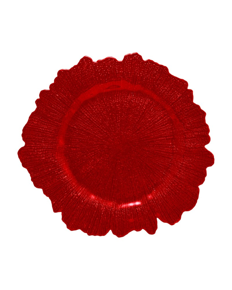 Sponge Red Glass Charger Plate
