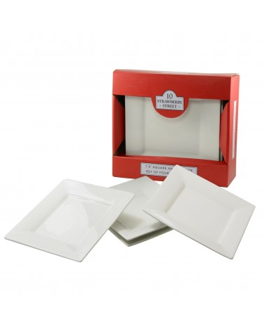 Square Box Sets - Red Salad/Dessert Plate Set Of 4