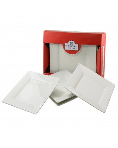 Square Box Sets - Red Dinner Plate Set Of 4
