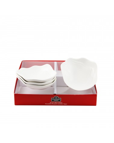 Tid Bit Sets Red Box Wave Dish Set Of 4