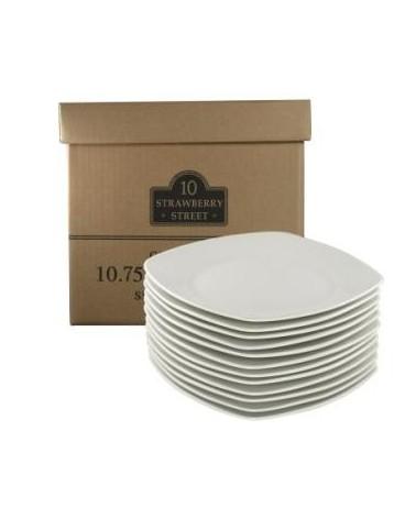 """Caterer's Set of 12 Square Dinner Plates 10.5"""""""