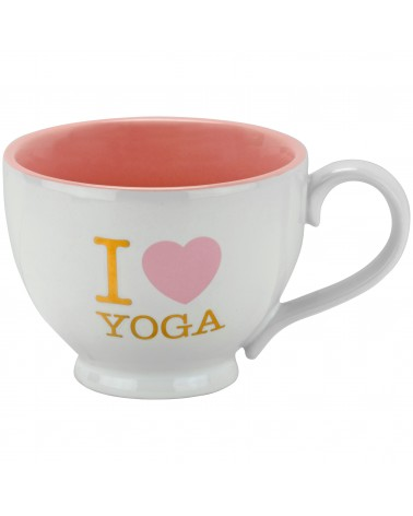 I LOVE YOGA-PINK METALLIC FOOTED MUG