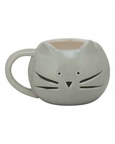 Cat Face Mug - Grey & Black - Side Ears
