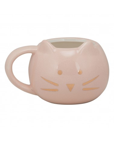 Cat Face Mug - Pink & Gold - Front Ears