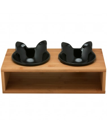 Cat Feeder with Bamboo Stand - Black