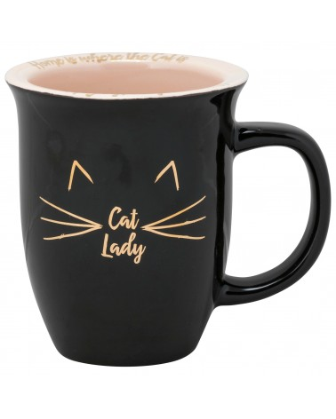 Rimmed Mug - Cat Lady - Pink & Black
